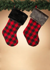 "ITEM G2429720 - 23""H RED & BLACK PLAID HOLIDAY STOCKING"