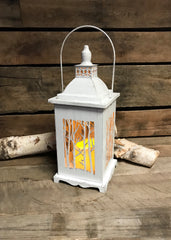 "ITEM G2435750 - 13.4""H B/O LIGHTED METAL AND GLASS WINTER FOREST LANTERN"