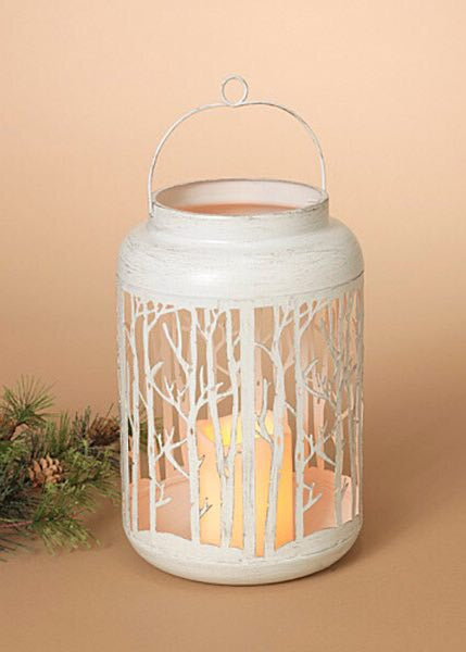 "ITEM G2435810 - 11""H BATTERY OPERATED LIGHTED METAL FOREST LANTERN"