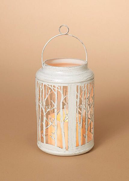 "ITEM G2435820 - 7.5""H BATTERY OPERATED LIGHTED METAL FOREST LANTERN"