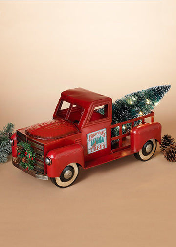 "ITEM G2484020 - 21""L METAL TRUCK WITH LIT TREE AND MAGNETS"