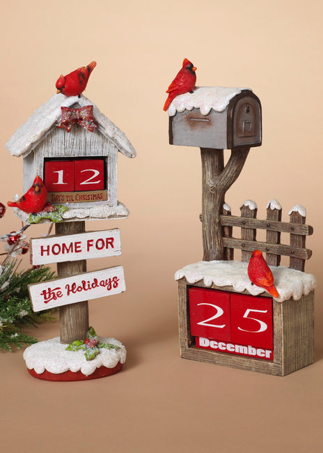 "ITEM G2487220 - 10.8""H RESIN HOLIDAY BIRDHOUSE & MAILBOX AND CALENDAR"