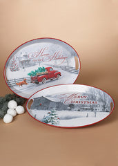 "ITEM G2489080 - 20.5""L METAL HOLIDAY FARM SCENE TRAY"