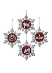 "ITEM G2490020 - 9.4""H METAL HOLIDAY PLAID SNOWFLAKE ORNAMENT"