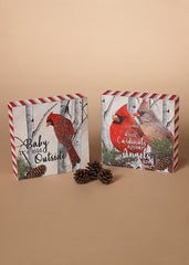 "ITEM G2492170 - 6""L WOOD HOLIDAY CARDINAL DESIGN BLOCK"