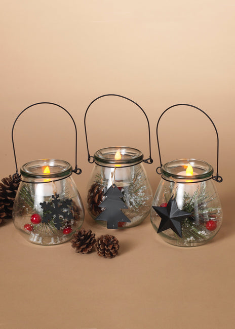 "ITEM G2494970 - 4.3""H HOLIDAY GLASS LANTERN WITH TEALIGHT HOLDER"