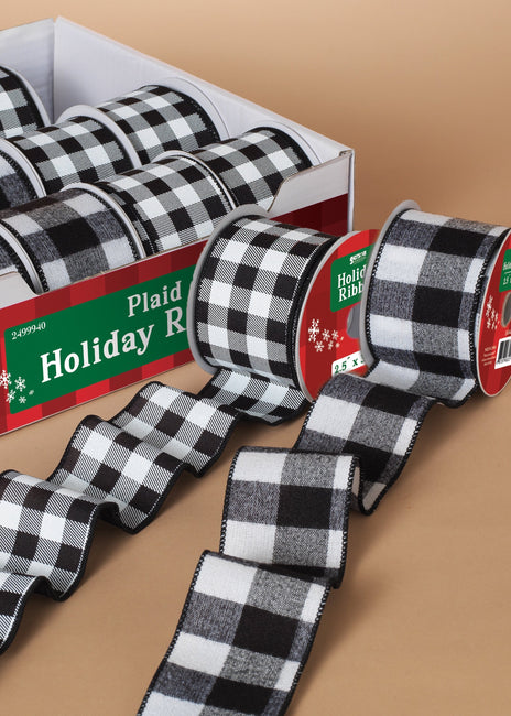 "ITEM G2499940 - 2.5""W X 25'L BLACK AND WHITE PLAID RIBBON IN COUNTER DISPLAY"