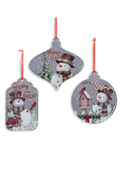 "ITEM G2500310 - 8.2""L METAL HOLIDAY.SNOWMAN DESIGN ORNAMENT"