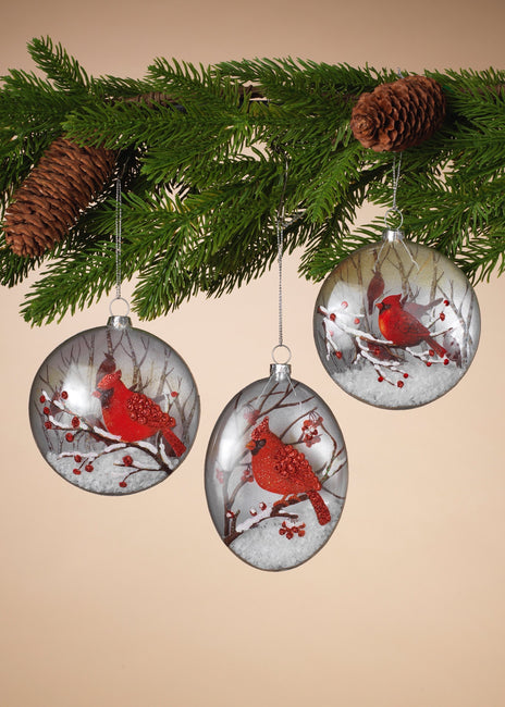 "ITEM G2505610 - 5.25""H GLASS CARDINAL ORNAMENT WITH SNOW FILLING"
