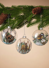 "ITEM G2505670 - 4.5""H GLASS WOODLAND ORNAMENT WITH SNOW FILLING"