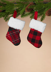 "ITEM G2508870 - 6""H PLAID MINI STOCKING WITH SHERPA TRIM"