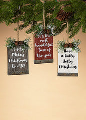 "ITEM G2532320 - 5""H WOODEN HOLIDAY SIGN ORNAMENT"