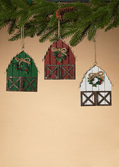 "ITEM G2532330 - 5.75"" WOOD & METAL HOLIDAY BARN ORNAMENTS"