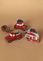 "ITEM G2533720 - 4.9""L RESIN HOLIDAY VEHICLE WITH TREE ORNAMENT"