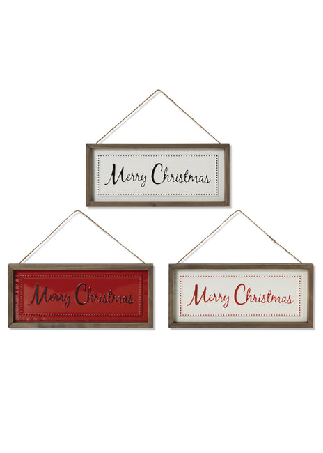 "ITEM G2536920 - 16""L WOOD & METAL ""MERRY CHRISTMAS"" WALL SIGN"