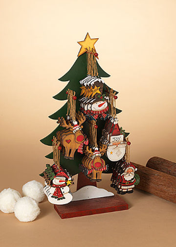 "ITEM G2538070 - 5"" WOOD HOLIDAY ORNAMENT - 6 ASSORTED (TREE DISPLAY WITH 48 PIECES)"