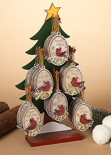 "ITEM G2538080 - 4.6""H WOOD HOLIDAY CARDINAL ORNAMENT - 6 ASSORTED (DISPLAY TREE WITH 48 PIECES)"
