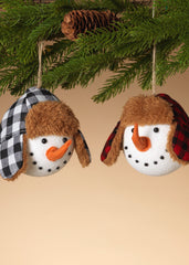 ITEM G2538330 - SET OF 2 HOLIDAY SNOWMAN HEAD ORNAMENTS