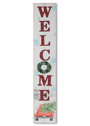 "ITEM G2540990 - 46.75""H WOOD ""WELCOME"" TRUCK PORCH SIGN"