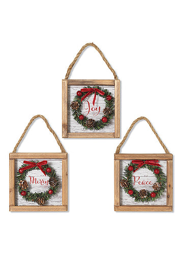 "ITEM G2542460 - 6""L WOOD HOLIDAY HANGING SIGN WITH WREATH"