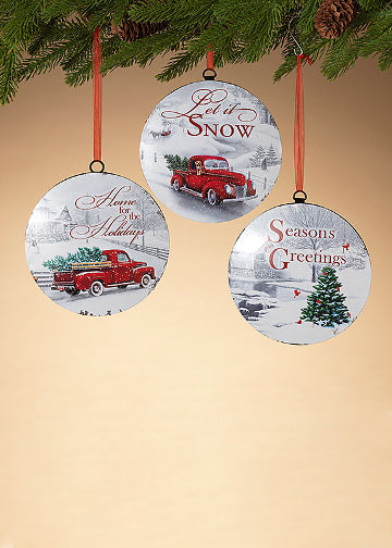 "ITEM G2542510 - 6.6""H METAL HOLIDAY WINTER SCENE ORNAMENT"
