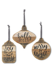 "ITEM G2544570 - 7.8""H WOODEN HOLIDAY SIGN ORNAMENT"