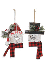 "ITEM G2549500 - 12""H WOOD SNOWMAN & SANTA HEAD ORNAMENT"