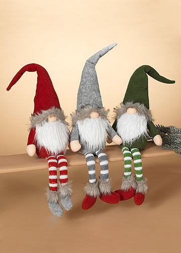 "ITEM G2550900 - 22""H PLUSH HOLIDAY GNOME SHELF SITTER - 3 ASSORTED"