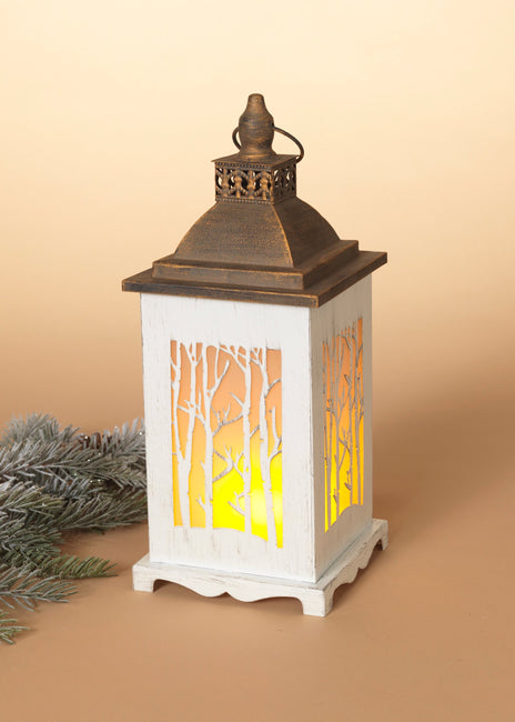 "ITEM G2556190 - 13.1""H B/O LIGHTED METAL WINTER SCENE FIRE GLOW LANTERN"
