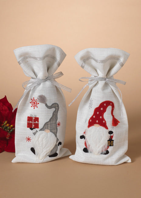"ITEM G2589280 - 15""H FABRIC CHRISTMAS GNOME DESIGN WINE BOTTLE BAG"