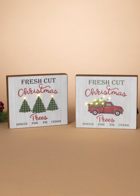 "ITEM G2592850 - 8.5""L B/O LIGHTED WOOD HOLIDAY BLOCK W/ TIMER"