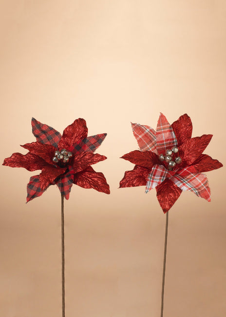 "ITEM G2596550 - 20""H POINSETTIA PICK W/ BELLS"