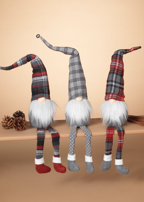 "ITEM G2596580 - 25.9""H FABRIC HOLIDAY PLAID GNOME SHELF SITTER"