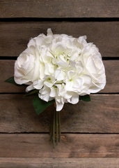 "ITEM 10142 W - 14"" WHITE ROSE & HYDRANGEA BUNDLE"