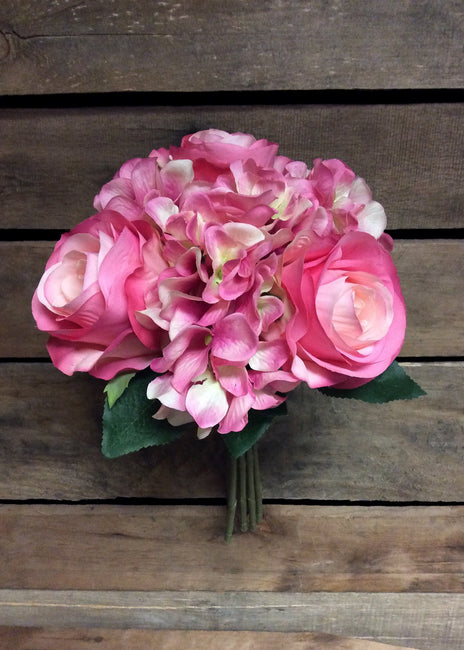 "ITEM 10142 PK - 14"" PINK ROSE & HYDRANGEA BUNDLE"
