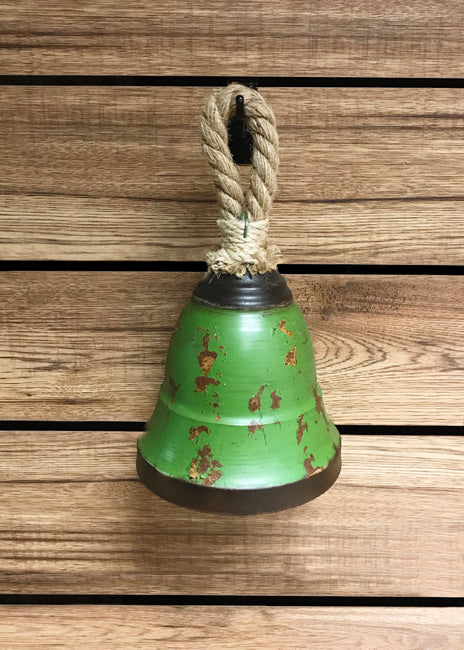"ITEM KE129940 - 7"" X 7"" TIN ANTIQUE GREEN GALVANIZED BELL WJUTE ROPE"