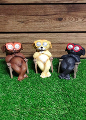 "ITEM KOP 11059 - 6.5"" LED SOLAR DOG WITH GLASSES - 3 ASSORTED"