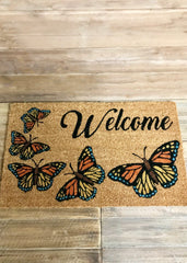 "ITEM KOP 12925 - 28.5""X17"" COCO HUSK WELCOME WITH BUTTERFLIES DOORMAT"