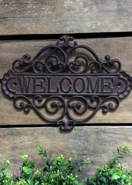 "ITEM KOP 13732 - 11.5"" X 8.5"" WROUGHT IRON WELCOME SIGN"