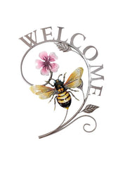 "ITEM KOP 17303 - 15.5""X10.5"" METAL WELCOME BEE WALL DECOR"