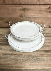 "ITEM KOP 21279 - WOOD ROUND WHITE WASH TRAYS - SET OF 2  L-14"", SM-11"""