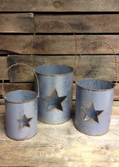ITEM KOP 21751 - METAL POTS WITH STARS - SET OF 3