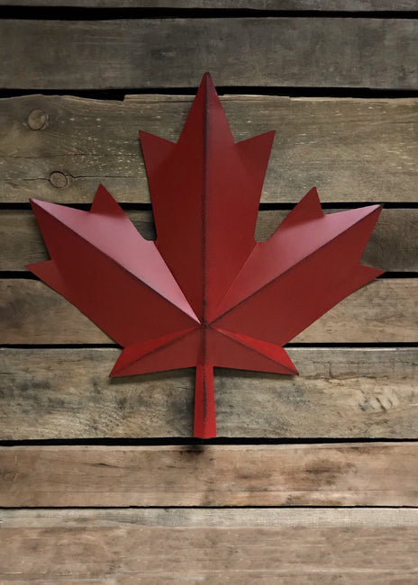 "ITEM KOP 21780 - 15"" METAL RED MAPLE LEAF WALL DECOR"