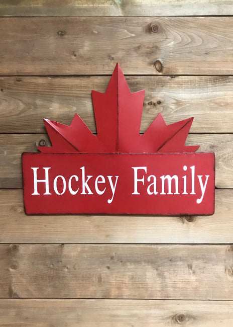 "ITEM KOP 22561 - 17.5""X13.5"" HOCKEY FAMILY METAL MAPLE LEAF SIGN ©"