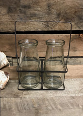 "ITEM KOP 23006 - 6""X5.5"" GLASS VINTAGE SET OF 2 BOTTLES WITH HOLDER"