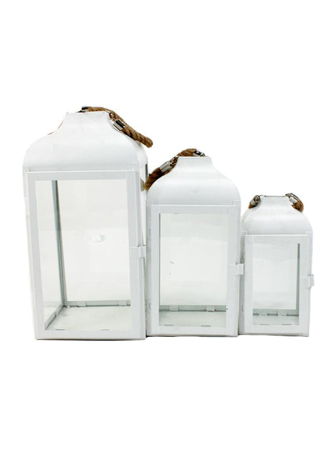 ITEM KOP 23533 - WHITE METAL LANTERNS - SET OF 3