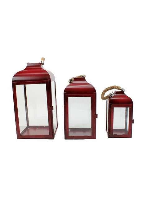 ITEM KOP 23534 - RED METAL LANTERNS - SET OF 3