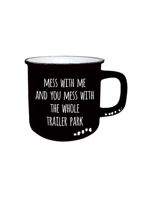 "ITEM KOP 25044 - 3.5""X3.75""X3"" CERAMIC MUG WITH ""TRAILER PARK"""