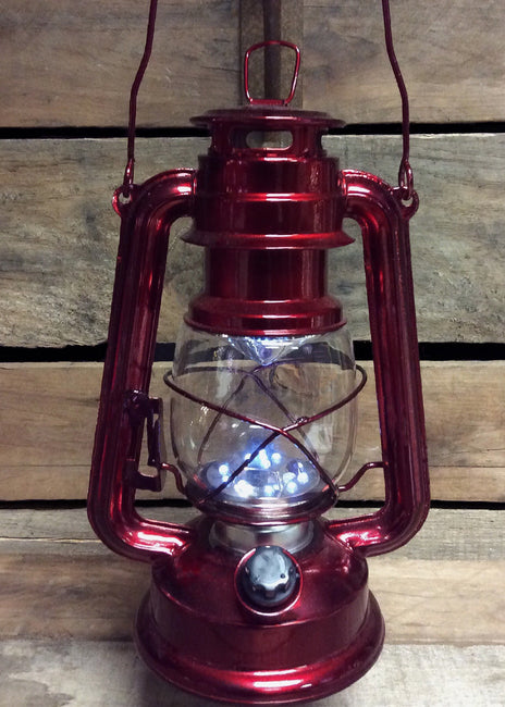"ITEM KOP 26927 - 12"" METALLIC RED LED METAL LANTERN"