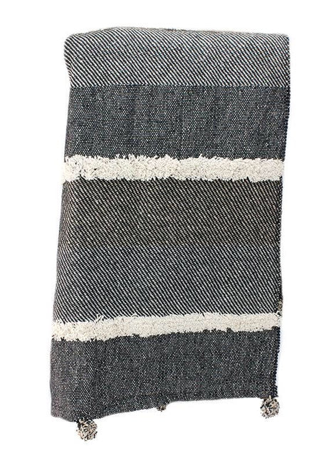 "ITEM KOP 27436 - 66""X51"" THROW BLANKET -GREY & WHITE TUFTED"